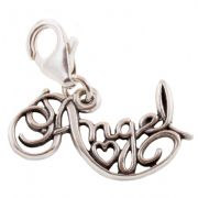 Angel Word Sterling Silver Clip On Charm - With Clasp
